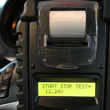 Photo of an Advanced Battery Tester used in an automtive Setting